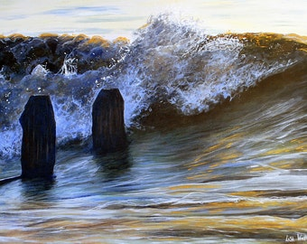 Seascape Painting. Wave Breaking Original Painting. Acrylic on Canvas of wave breaking over Groynes. Sea Movement and Gold Light
