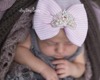 Newborn baby girls pink stripe hospital hat crown princess tiara embellished coming home baby shower gift