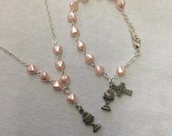 Pink Heart Celtic Communion Jewelry Set