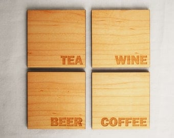 Beverage Coasters - Modern Drinkware - Maple - Wood Coasters - Tea Coffee Beer Wine Coaster - Housewarming gift - Hostess Gift -Home Decor