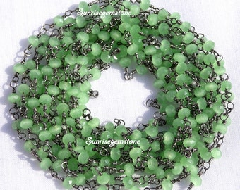 BIG Sale 40% Off 50 Feet Green Chalcedony 3.50mm Black Plated Wire Wrapped Beaded Rosary Style Link Chain.