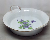 Vintage Kaiser Viola Handle Bowl Deep Dish Porcelain Purple Flower Violet Golden Crown E&R West Germany Wedding Gift Anniversay Tableware
