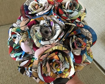 Made to Order Comic Book Paper Flower Bouquet Centerpiece