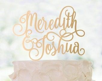 Cake Topper | Bride and Groom Names | Calligraphy | Metallic | Glitter | Wood | Gold | Rose Gold | Custom