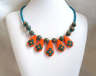 Polymer Clay Pendant,  Polymer Clay Bead Necklace