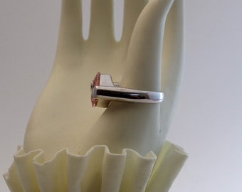 Rose Quartz Thick Band Silver Ring