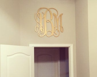 Gold Painted Wooden Monogram, Wood Monogram Letters, Nursery Decor, Wedding Guest Book Sign, Wedding Decor, Housewarming Gift, Bedroom Decor