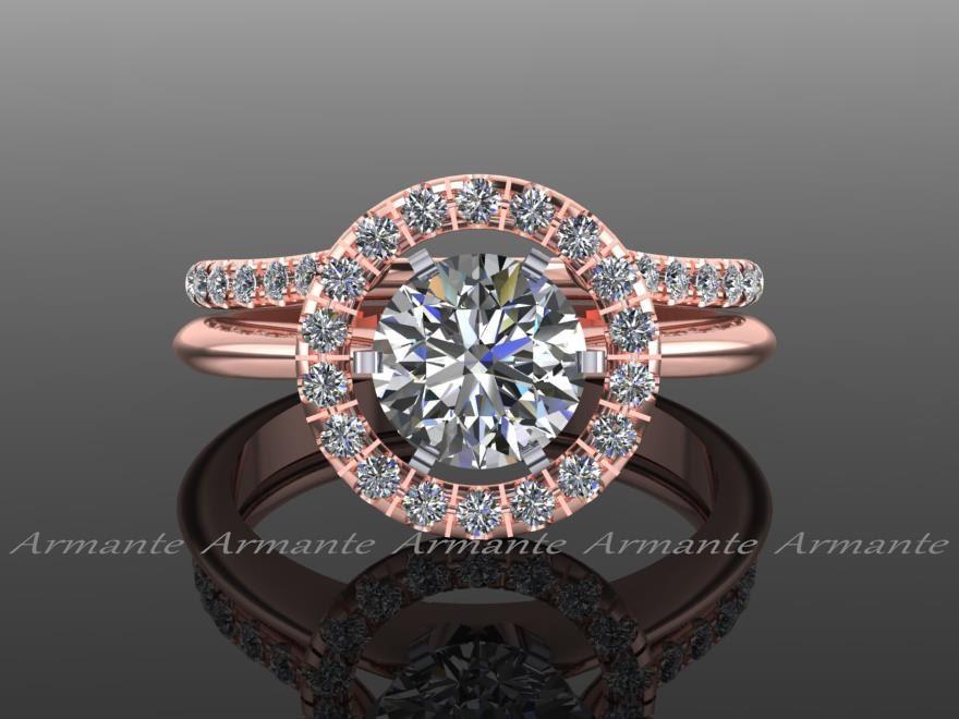 diamond ring enhancer halo ring guard solitaire ring enhancer natural diamonds 14k rose gold - Wedding Ring Enhancer
