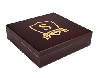 Personalized Humidor, SIM 009 Engraving, The Squire 20 Cigar Cherry Desktop Humidor, Groomsman Gift