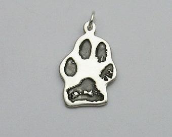 Paw Print Jewelry, Paw Print Charm, Tiny Paw Print Charm, Pet Lover Jewelry, Pet Lover Charm, Silver Paw Print, Dog Cat Bunny , Actual Paw