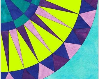 New York Sunburst Beauty Paper Piece Foundation Quilting Block Pattern PDF