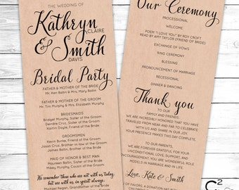 Classic Kraft Wedding Program