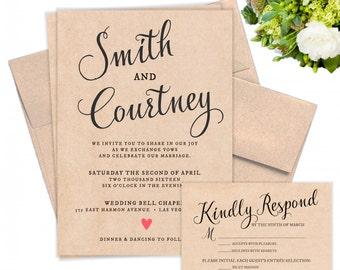 Classic Kraft Wedding Invitation with Response Card