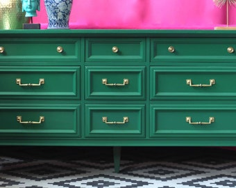 Dresser/Buffet/Credenza Lacquered in Glossy Green - Ready to ship