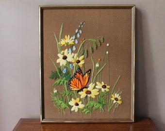 Vintage Butterfly Flower Needlepoint