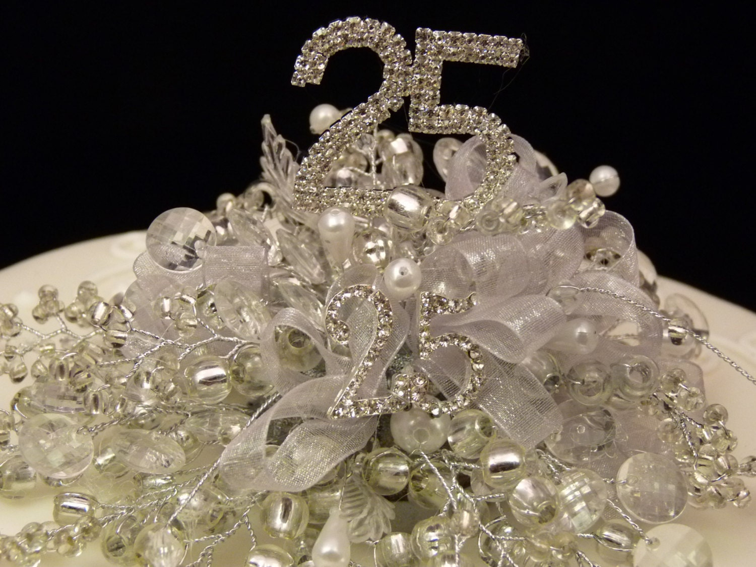 Silver wedding cake decoration, Silver wedding cake topper ...