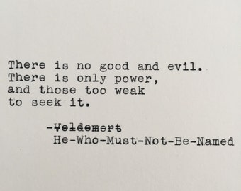 Harry Potter Power Quote (He-Who-Must-Not-Be-Named, Voldemort) Typed on Typewriter - 4x6 White Cardstock