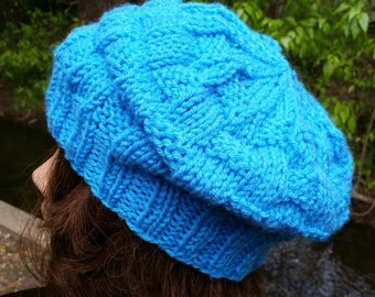 Beret Slouchy, Turquoise Beret, Beret Slouch Hat, Beret Slouch Beanie, Slouchy Beret, Slouchy hat, Beret, Slouch, knit Beanie, Knit Beret,