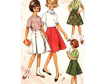 Simplicity Sewing Pattern 5431 Girl's Wrap around Skirt, Reversible Wrap around Skirt - estimated vintage 1960's  Size:  14  Used