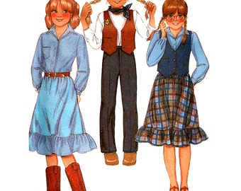 McCall's Sewing Pattern 7201 Girls'  Vest, Shirt, Skirt, Pants  Size:  12  Used