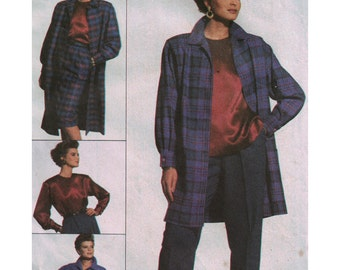 Simplicity Sewing Pattern 7716 Misses' Top,Skirt, Pants, loose-fitting Coat in two lengths  Size:  16  Used