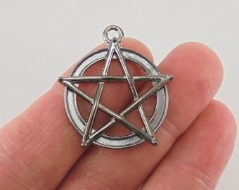 5 pc. Pentagram or Pentacle charm, 31x28mm, gunmetal finish
