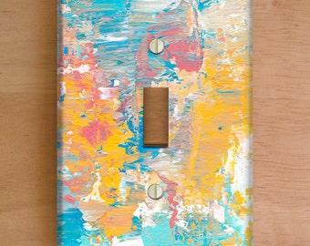Winter Sunrise Vinyl Light Switch Cover. Outlet Cover, Abstract Painting, Paint Splatter, Modern Art, Home Decor, Vinyl Stickers