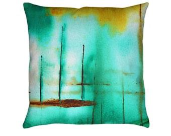 Piers Printed Throw Pillow. Apartment and Dorm Decor, Sofa Cushion, Green Pillow, Watercolors, Stripes, Nautical Pillow, Modern Art Pillow