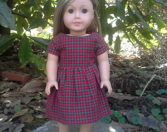 american girl doll red and green plaid dress