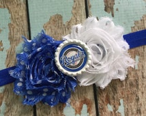 KANSAS City ROYALS MLB Baseball shabby flower headband Baby Little Girl Hair Bow - Photo Prop