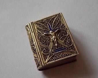 Vintage Silver Enamel Filigree Trinket Box LOVELY SALE