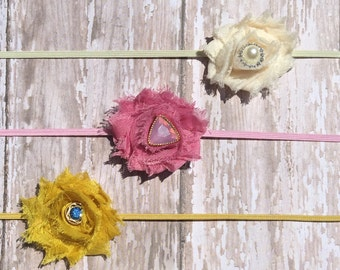 Shabby Headbands-Cream,