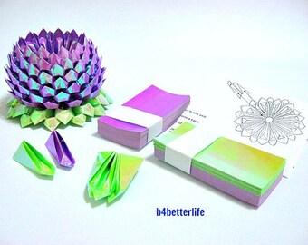 1 Large Purple Origami Lotus Plus 264 sheets of DIY Paper Folding Kit. (AV Paper Series).