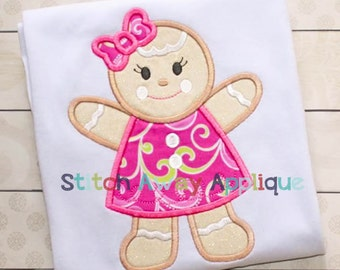 Gingerbread Girl Christmas Machine Applique Design