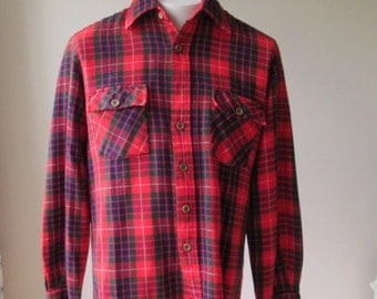 70's Red Plaid Shirt / acrylic tartan plaid flannel shirt by Unicorn size medium
