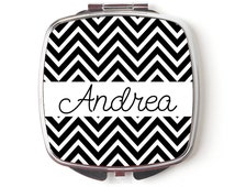Personalized Compact Mirror - Personalized Bridesmaids Gifts - Black Chevron Wedding Compact Mirrors