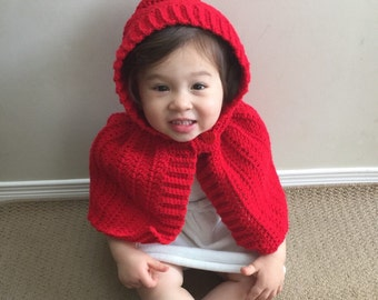 Little Red Riding Hood Cape, Poncho, Baby Toddler Child Hooded Wrap Cape with Button Closure