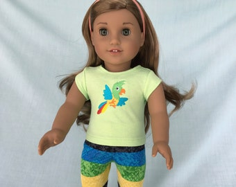 Parrot T-Shirt and Leggings for American Girl/18 Inch Doll