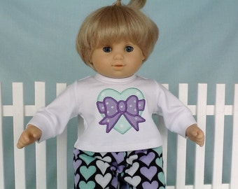 Heart and Bow Pajamas and Optional Slippers for Bitty Twin, Bitty Baby/15 inch doll