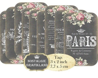 Chalkboard Paris French Tags Eiffel Tower Shabby Chic Instant Download digital collage sheet T130