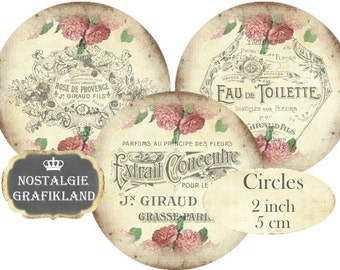 Circles 2 inch French Perfume Logos Vintage Instant Download digital collage sheet C237 Soap Savon