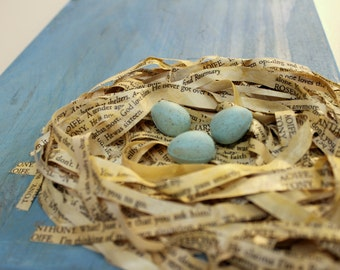 Bird Nest Art Handmade Book Pages Script Robin Eggs Theatre Theater Play Sign Salvaged Wood Stage Robin Spring Shanley Upcycled Reclaimed