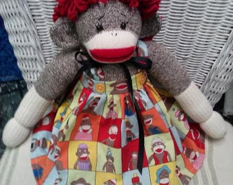 Primitive Folk Art Raggedy Sock Monkey Doll