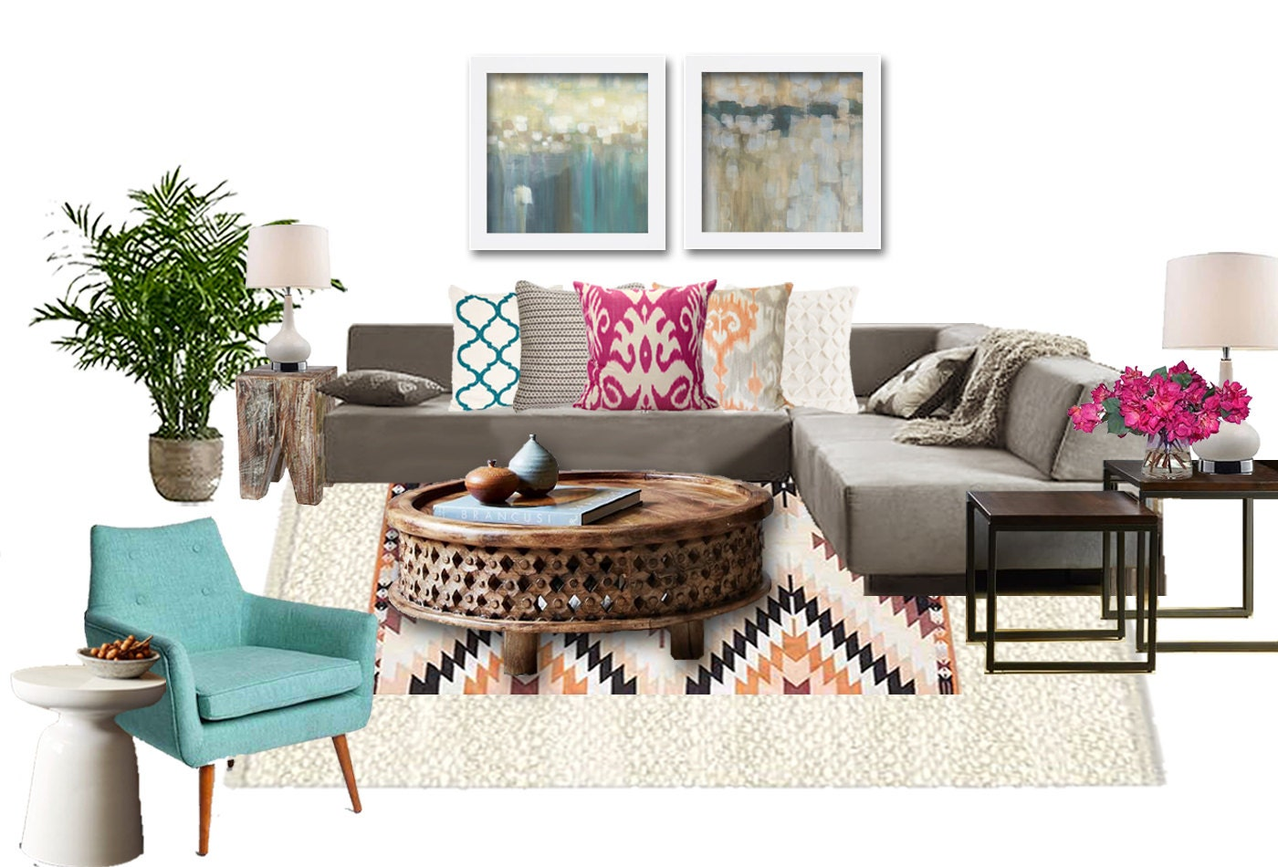 Boho Living Room Online Interior Design Package Bohemian