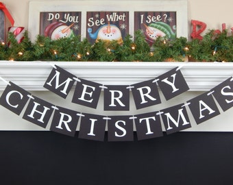 Chalkboard Merry Christmas Banner, Christmas decorations, holiday decor, holiday banner, mantle garland, Christmas garland, Christmas sign
