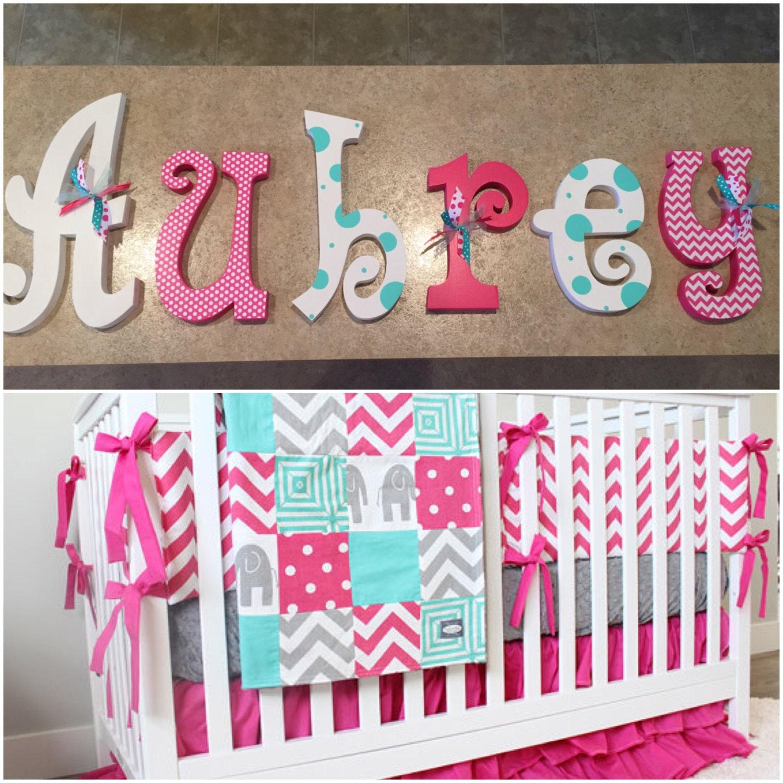 nursery decor nursery wall decor hanging nursery letters. Black Bedroom Furniture Sets. Home Design Ideas