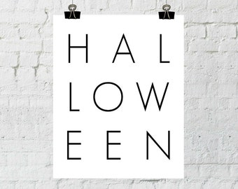 Halloween Wall Art, Halloween Decoration, Minimalist Halloween, Download Print, Halloween Party Sign, Black and White Wall Art