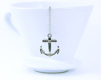 Loose Tea Infuser Tea Strainer Blue White Ship Anchor Pendant