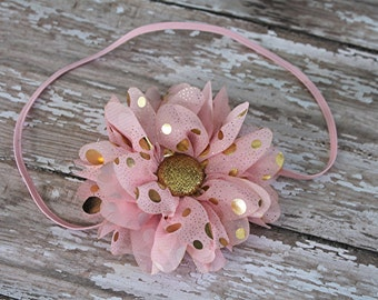 Pink and Gold flower headband - first birthday headband - cake smash headband - newborn headband - toddler headband - photo prop