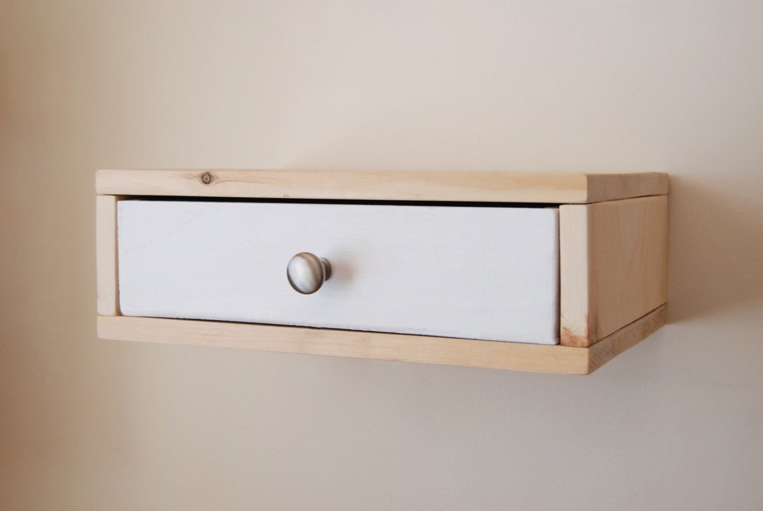 Floating Nightstand Wall Shelf with Color Drawer made from